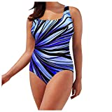 HXSCOO Femenino Tallas Grandes One Pieza Traje de baño Colorido Stripe Tankini Set de Cintura Alta Control de la Panza Traje de baño Ropa de Playa Bikini Conservador (Color : Blue, Size : XXL)