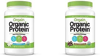 Orgain Organic Plant Based Protein Powder, Vanilla Bean - Vegan, Low Net Carbs 2.03 Pound & Organic Plant Based Protein Po...