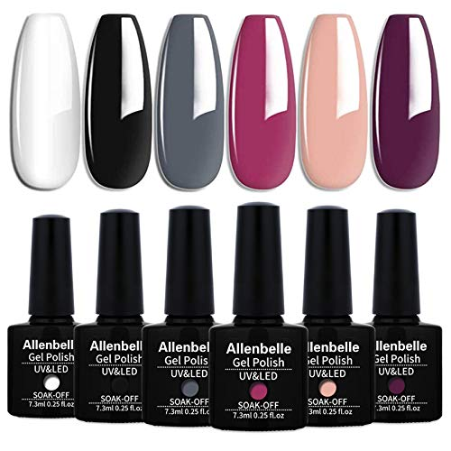Allenbelle Smalto Semipermante Per Unghie Kit In Gel Uv Led Smalti Semipermanenti Per Unghie Nail Polish UV LED Gel Unghie(Kit di 6 pcs 7.3ML/pc) (031)