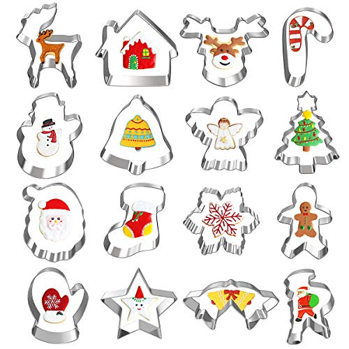 Christmas Cookie Cutters, Besteek 12 Pieces Holiday Cookie Cutters Including Gingerbread Man Snowflake Christmas Tree Reindeer and More