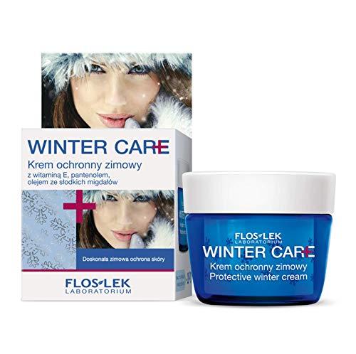 FLOSLEK Schutz-Winter-Creme mit Mandelmilch und Vitamin E | 50 ml | Gesicht, Dekollete und Hand-Pflege | Ausgezeichneter Winterschutz der Haut | Für Menschen jeden Alters | Ideal für Skiausflüge