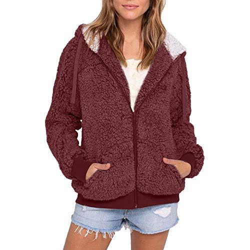 OverDose Damen Sweatjacke Wärmemantel Frauen Plus Size Casual Sport Outdoor Tasche Mit Kapuze Parka Outwear Strickjacke Mantel Für Winter(Weinrot,38 DE/L CN )
