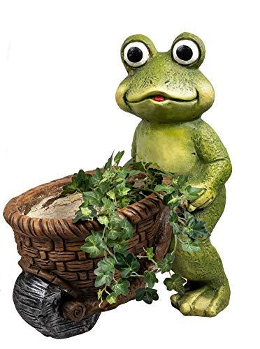 dekojohnson Deko-Frosch mit Schubkarre Blumentopf Pflanzgefäß mit Tiermotiv Froschgärtner Osterdeko Gartenfigur Übertopf grün braun Gartendeko 39cm