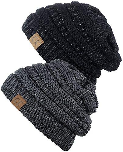 C.C Trendy Warm Chunky Soft Stretch Cable Knit Beanie Skully, 2 Pack Black Metallic/Dark Melange Gray Metallic