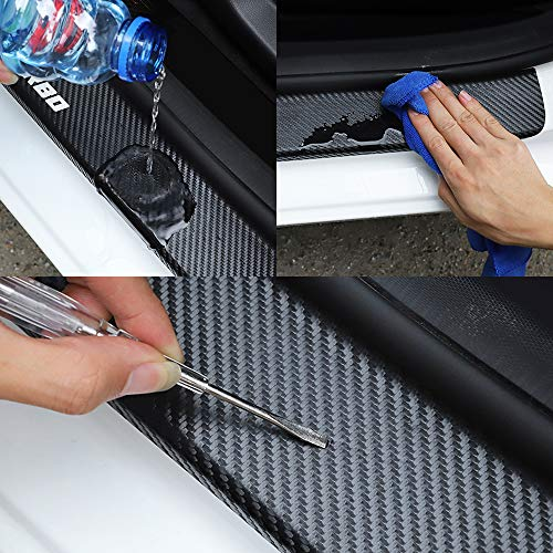 Carbon Fiber Rear Bumpers Protector Guard Strips, for Renault Triber Car Trunk Sill Plate Cover Tail Trim Anti-Scratch Anti-Collision Protective Styling Accessories
