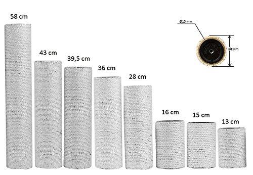 ARMARKAT - Sisalstämme mit 11 cm Durchmesser, Innengewinde M10, Natursisal 6 mm in diversen Längen für Kratzbaum (1 x 36 cm)