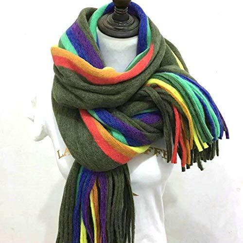 ODMKGE Schal Doppelseitiger Regenbogen-Schal Mit Fransen Und Doppeltem Verwendungszweck Für Dicke, Warme Schals