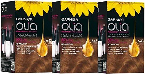 3x Garnier Olia 6.43miel cobre–Tinte permanente para cabello colorante