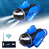 Mini RC Submarine - Wireless Remote Control Boat, Waterproof Underwater RC Submarine Toy for Kids, Multifunctional Durable Electric Ship Toy Glowing Submarine Model for Fish Tanks Bathtubs