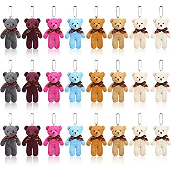 Skylety 24 Pieces Mini Teddy Bear Toy 4.7 Inch 2021 Graduation Stuffed Tiny Bear Jointed Teddy Bear Soft Tiny Bear Doll for DIY Keychain Birthday Wedding Xmas Decorations Party Favor