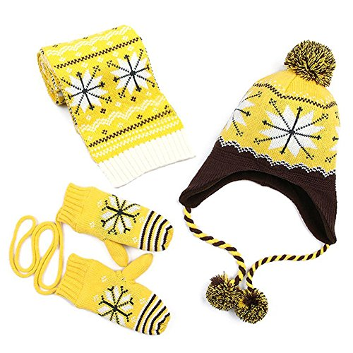 Kuyou - Ensemble bonnet, écharpe et gants - Garçon - jaune - Small