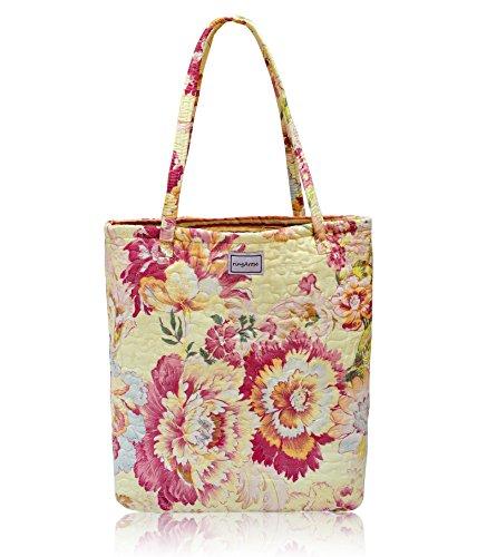 Ringarose reversibile, trapuntato in cotone, motivo floreale, da borsetta, borsa a tracolla, borsa per la spesa riutilizzabile per la spesa, Floralies-Grocery