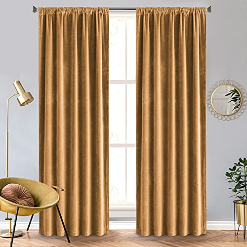 Vangao Gold Velvet Curtains 108 Inches Long Velvet Curtains for Living Room Bedroom Dining Room Blackout Curtains Thermal Insulated Room Darkening Curtains Drapes Window Treatment 2 Panels Gold Brown