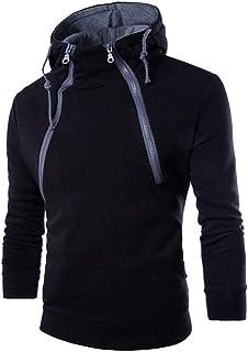 Pullover con Cappuccio da Uomo Felpa Calda Spessa Sweatshirt Giacca Casual Colletto con Cerniera Stand Collo con Coulisse ...