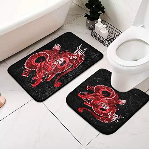 Mnsruu Lot de 2 tapis de salle de bain japonais antidérapants et absorbants de 39,8 x 59,9 cm et tapis de bain en forme de U 50,8 x 50,8 cm