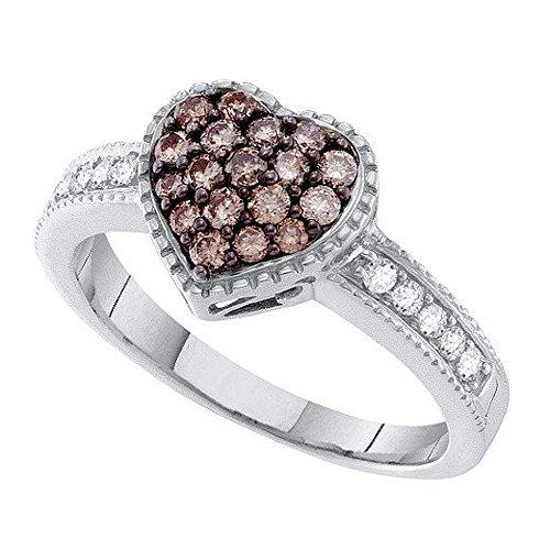 0,47Carat (quilate) 14K oro blanco blanco y coñac diamante señoras mano derecha con forma de corazón anillo de moda 1/2CT
