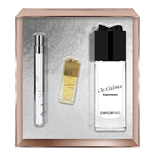 Evaflorparis Je T'Aime Capricieuse Gift Box Eau de Parfum 100 Ml + Miniature 7.5 Ml + Pocket Atomizer 12 Ml Set Women Spray for Her Women Perfume Evaflorparis 520 g
