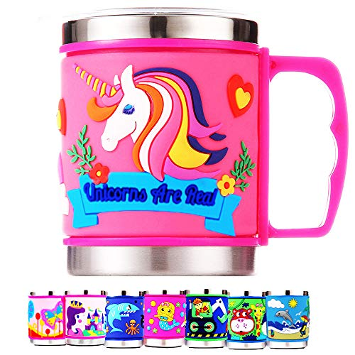 12 Oz Kids 304 Stainless Steel Unicorn Pink 3D Mug with 2 Pack Slider Closure Lids - Eco-Friendly - BPA Free - by F-32 Signature Collection (Unicorn Pink)