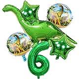 DIWULI, Juego de Globos Dinosaurios, XXL Dino Globo + Numero 6 Verde XL, Globos números años Aluminio Grande número Juguetes, 6° Cumpleãnos niña niño, Fiestas, decoración, Happy Birthday Decoracion