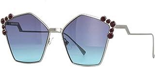 فيندي FF0261/S نظارة شمسية روثينيوم مع عدسة زرقاء مائية 57 ملم 6LBJF FF0261S FF 0261S FF 0261/S