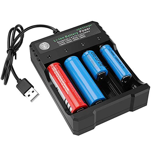 18650 Battery Charger 4-Bay 5V 2A for Rechargeable Batteries 3.7V Li-ion TR IMR 18650 14500 16340(RCR123) Red/Green Display (Not Battery)