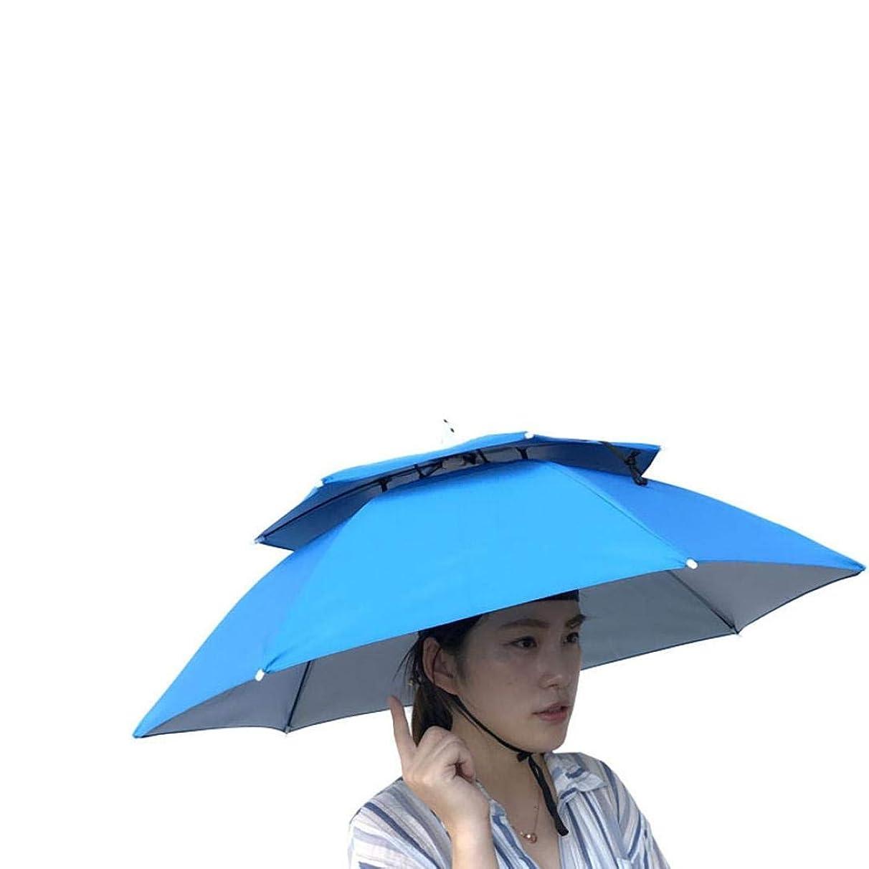 Umbrella Hat, Sttech1 Novelty Double Layer Sun Hat Golf Fishing Camping Fancy Dress Folding Headwear Waterproof Elastic for Fishing Gardening (Light Blue)