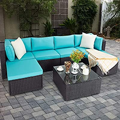 VITESSE 7 Pieces Patio Furniture Sectional Sets, Outdoor All-Weather PE Rattan Wicker Lawn Conversation Sets, Garden Sofa Set with Coffee Table and Washable Couch Cushions(TifnyBlue)