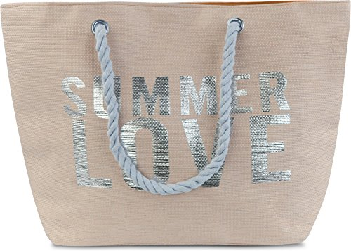 normani Strandtasche Schultertasche Handtasche Umhängetasche mit Sommer Design und großem Volumen Farbe Summer Love Beige