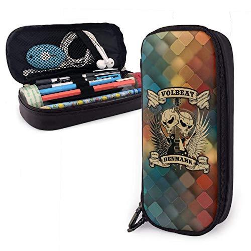 Volbeat Leather Pencil Case Bleistiftbeutel Makeup Pen Pouch für Schule/Büro