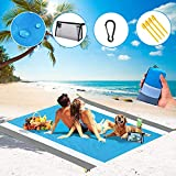 Beach Mat, Waterproof and Sandproof Beach Blankets,79''×83'' Large Sand Free Beach Mat Suitable for Adults Aged 4-7 , Large Portable Picnic Blankets,Travel, Camping, Hiking, Outdoor Mats