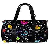 Bolsa deportiva de barril de 17 pulgadas, patrón floral colorido con pájaros, bolsa de hombro para mujeres y hombres, bolsa de lona ligera