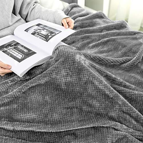 MIULEE Manta Blanket Franela para Sófas Mantas de Terciopelo Diseño Granulado para Siesta Suave Grande Cálida para Cama Felpa para Mascota Cama Habitacion Dormitorio 1 Pieza 220x240cm Gris Oscuro