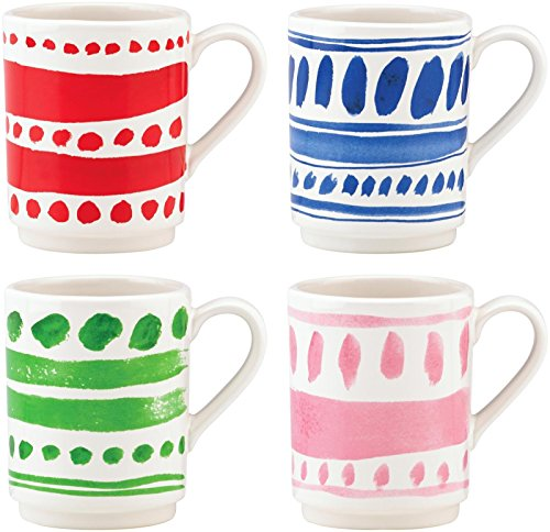 KSNY All in Good Taste Pretty Pantry Dw Stacking Mug, White, Set of 4