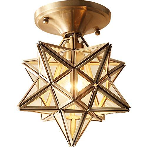 LAMP-XUE 1-Light Copper Herrnhuter Stern Fixture Mit Klarglasfarbton-Deckenleuchte, Messing Flush Mount Deckenlampe Dekoration Für Innenkorridor Aisle Treppe Eingangs Study Room