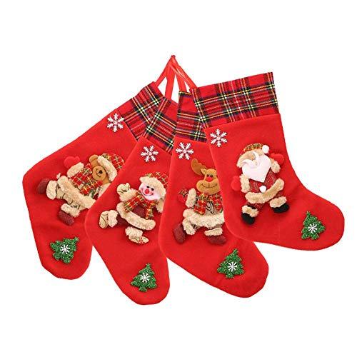 Weihnachtsstrumpf Weihnachtsdeko Weihnachten Geschenktasche Zucker Beutel Weihnachtsbaum Deko - 4 Stück Roter Filz Christbaumschmuck - Santa Schneemann Rentier Geschenk Leckerlibeutel