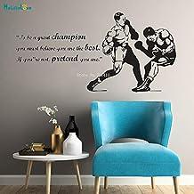 ASFGA Boxing Sports Star Boxing King Match debes Creer Que Eres la Mejor Etiqueta de la Pared Pegatina Guantes de Boxeo póster Vinilo Gimnasio niños Dormitorio decoración 84x42cm