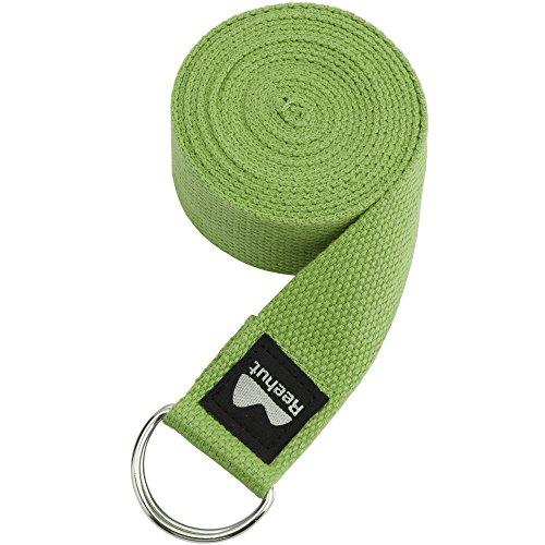 Reehut Fitness Exercice - Correa para yoga (1,8 metros, 2,4 metros, 3 metros) con hebilla de anilla en D ajustable para estiramiento, flexibilidad y terapia física, Verde ejército