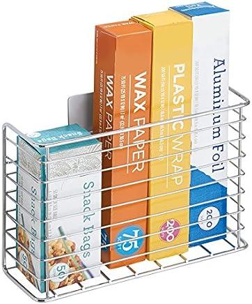 praktischer Organizer aus Metall f/ür Alufolie mDesign Aufbewahrungskorb Plastikt/üten und mehr bronzefarben Abfalleimer f/ür die Schrankt/ür