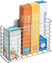 mDesign Affix Kitchen Wrap Holder - Self-Adhesive Steel Kitchen Organiser Basket for Kitchen Essentials - Perfect for Storing Kitchen Accessories Like Cling Film and Tin Foil - Chrome