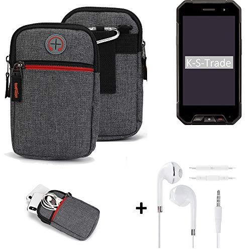 K-S-Trade Gürtel-Tasche + Kopfhörer Für Cyrus CS 27 Handy-Tasche Holster Schutz-hülle Grau Zusatzfächer 1x