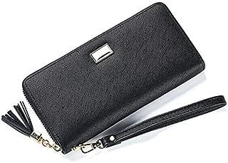 Unishow Cross Pattern Tassel Women Wallet Long Zipper Female Purse Large Capacity Ladies Clutch Phone Wallet with Wirsband