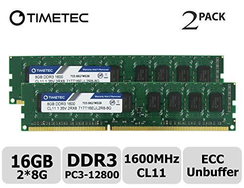 Timetec - Módulo de Memoria RAM para Servidor (16 GB, 2 x 8 GB) DDR3L 1600 MHz, PC3-12800, sin búfer, ECC, 1,35 V, 240 Pines, UDIMM (16 GB, Kit de 2 x 8 GB)