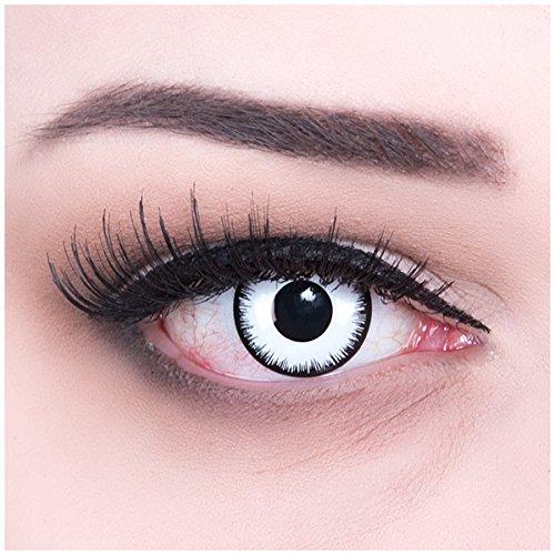 Funnylens 1 Paar farbige Crazy Fun weiße Lunatic Jahres Kontaktlinsen. Perfekt zu Halloween, Karneval, Fasching oder Fasnacht mit gratis Kontaktlinsenbehälter ohne Stärke!