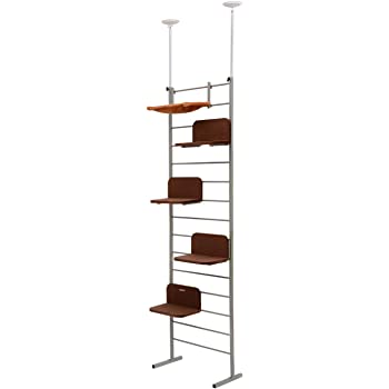 """PawHut 108"""" Floor-to-Ceiling Adjustable Staggered Climbing Cat Tree Tower"""