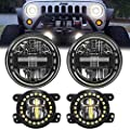 AUDEXEN 7 Inch Led Headlights with DRL High Low Beam + 4 Inch Cree Led Fog Lights with Halo Ring/Fog Light Projector Compatible with Jeep Wrangler JK JKU TJ LJ 1997-2018, Black