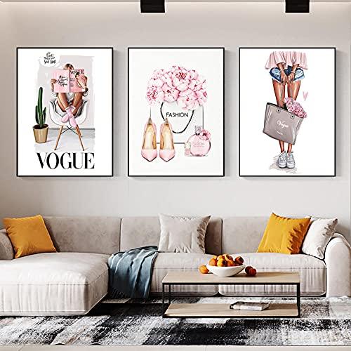 Perfume Bolso De Moda Chica Vogue Cita Carteles Nórdicos E Impresiones Arte 3 Piezas Lienzo Pintura Cuadros De Pared Para Sala De Estar Decoración Del Hogar 12'X16'X3Panels