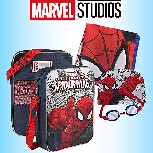 Spiderman kinderen jongens 4-delige zwemset - sneldrogende microvezel handdoek verstelbare tas met ventilatiegaten verstelbare bril met anti-mist lenzen en een uitrekbare polyester zwemmuts