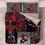 Deadpool - Juego de ropa de cama con funda nórdica 3D de 3 piezas (funda nórdica + 2 fundas de almohada), gruesa y suave, poliéster de microfibra para niños y adultos (sin edredón),N6,Single140*210cm