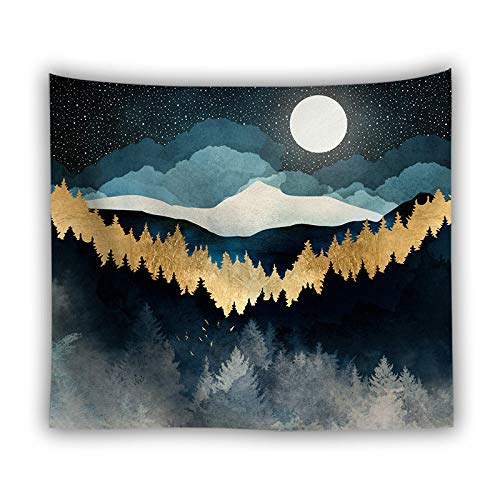 LOVEYF Tapiz,Psychedelic Blue Moon Galaxy Mountain Forest Landscape Indian Hippie Aesthetic Wall Hanging Blanket Yoga Mat Throw Beach Towel For Room Art Decor, M 130Cmx150Cm