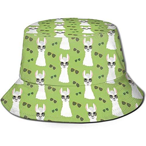 Sombrero de Cubo Unisex Gafas de Llama Vector Impreso Sombrero para el Sol al Aire Libre Viaje de Verano Gorra al Aire Libre Negro